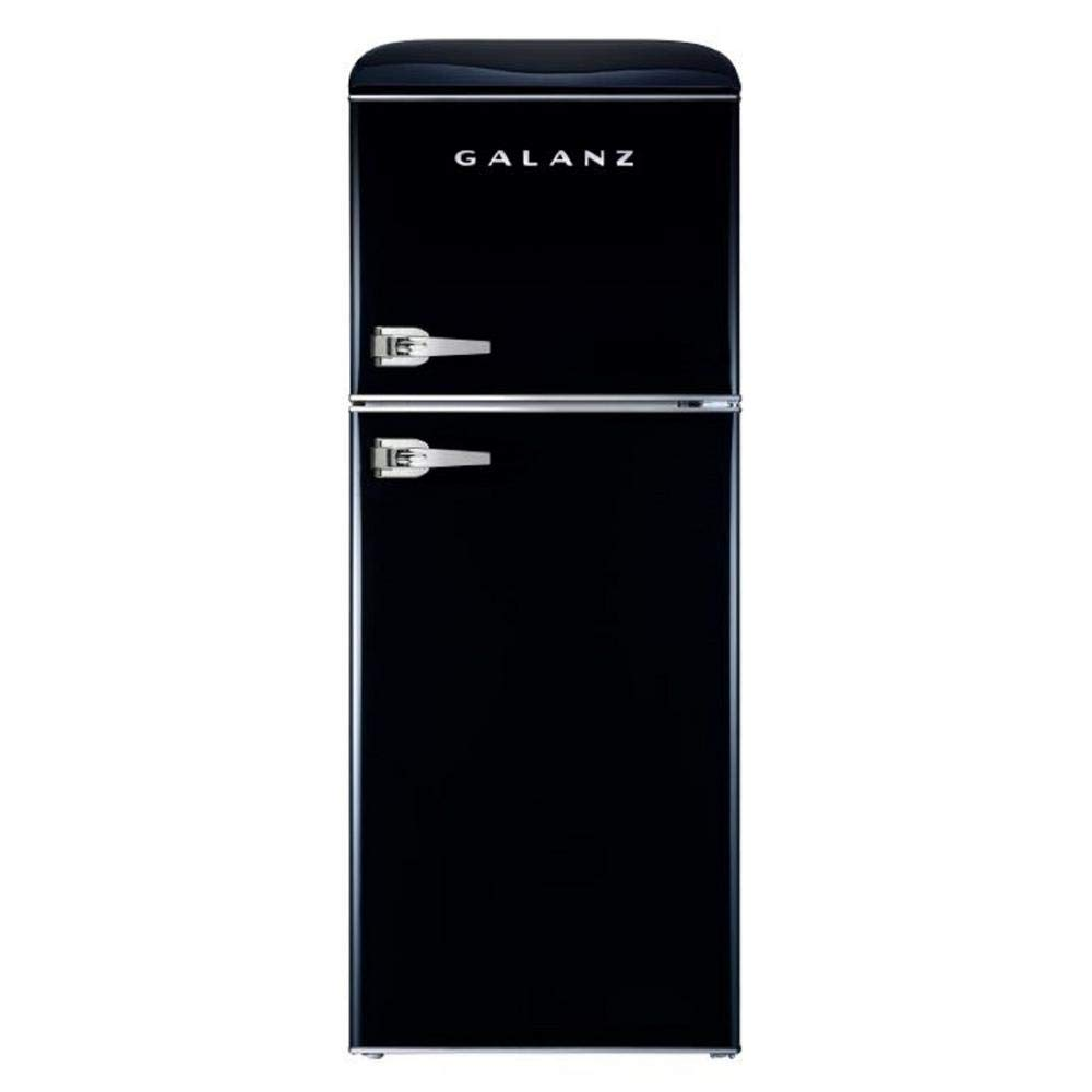 Galanz - Retro Look Refrigerator, 4.6 Cu Ft Refrigerator Dual Door True Freezer (RETRO), ESTAR Black