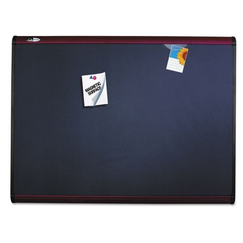 Black Fabric Mahogany Frame (Quartet Prestige Plus Magnetic Fabric Bulletin Board, 6 x 4 Feet, Black with Mahogany Frame (MB547M))