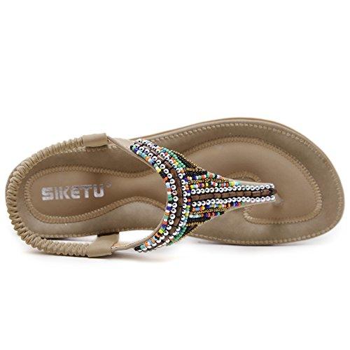 Hattie Women's Bohemian Bead Sandals Casual Summer Beach Flats apricot 521375Ac