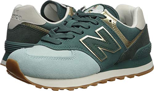 New Balance Women's 574v2 Sneaker, White Agave/Light Gold, 7 B US