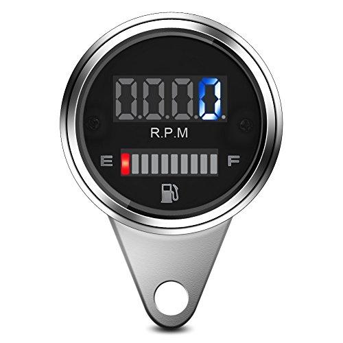 Aramox Speedometer Gauge,2 in 1 Motorcycle Digital LED Speedometer Tachometer Oil Fuel Gauge Universal 12V: