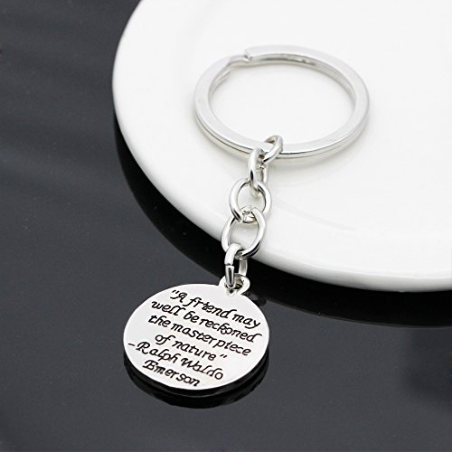 A friend may well be reckoned the masterpiece of nature - Double Side Key Chain Ring BBF Best Friend Gift Photo #2