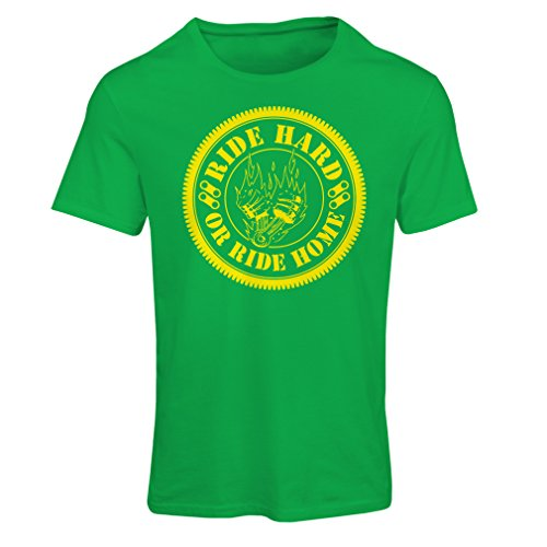 lepni.me N4688F T-Shirt Female Ride Hard! Biker Clothing (Large Green Multi Color)