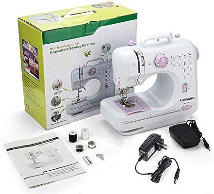 Máquina de coser -12 tipos de puntadas, pedal eléctrico de doble uso, función de patchwork, costura de botones, cremallera, costura cilíndrica, costura: Amazon.es: Hogar