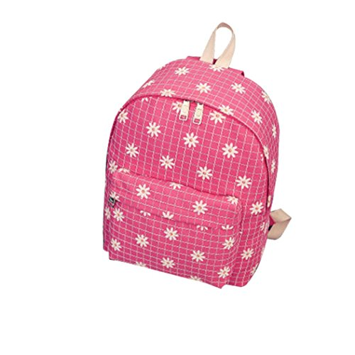 Clode® Las mujeres de moda Causal Floral crisantemos lona rejilla bolso mochila Color de rosa caliente