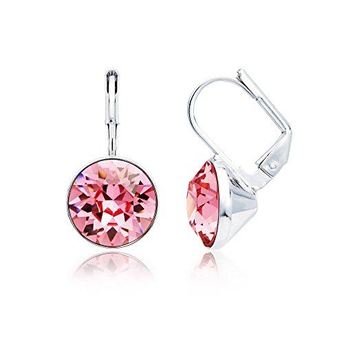 MYJS Bella Rhodium Plated Mini Drop Earrings with Light Rose Pink Swarovski Crystals