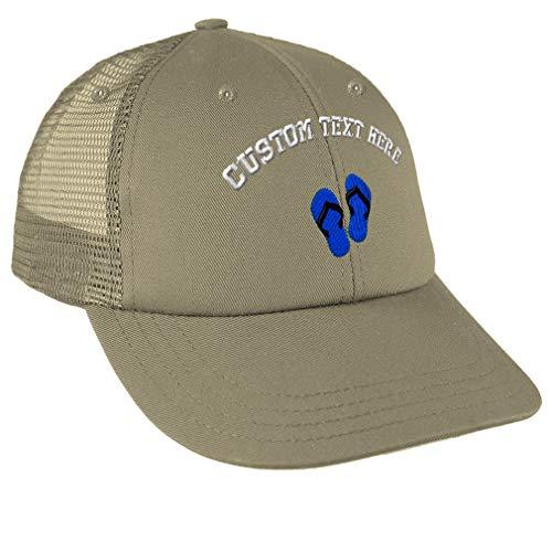 Custom Text Embroidered Flip Flops Unisex Adult Snaps Cotton Low Crown Mesh Golf Snapback Hat Cap - Khaki, One ()