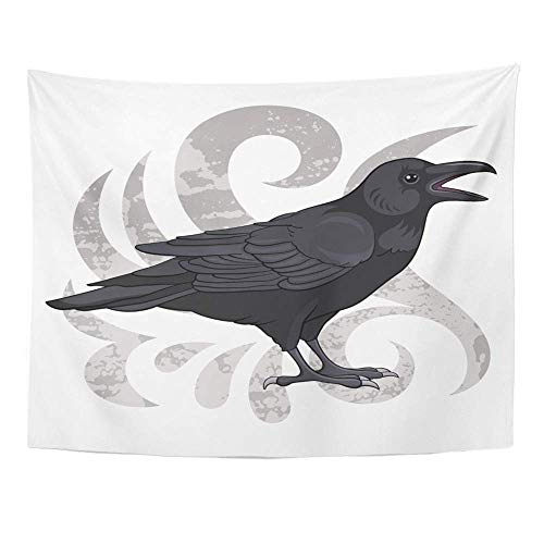 SSKBJTBDW Crow Raven Black Bird Halloween Drawing Tapestry Soft Polyester Cotton Appropriate Size Nice Wall Hanging Decoration for $<!--$10.45-->