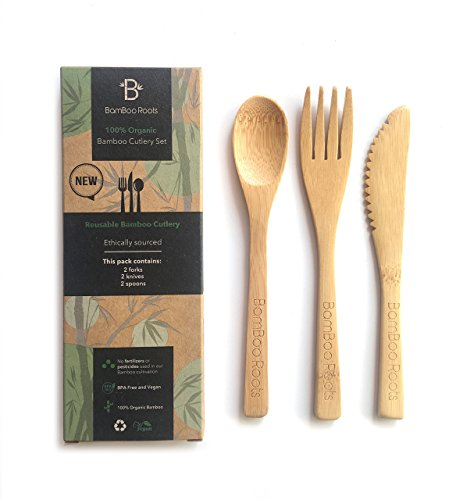 BamBoo Roots Bamboo Cutlery, Utensils 6-Pack, 6 Inches – 100% Organic Bamboo, Reusable, Biodegradable, BPA Free – Includes Two Forks, Two Spoons, Two Knives – Great for Camping and at Home
