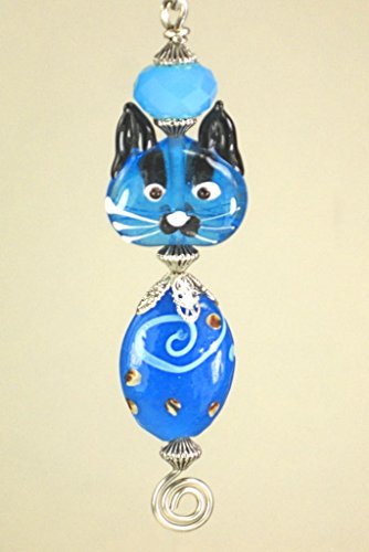 Blue Glass Kitty Cat Ceiling Fan Pull Chain/Light Pull by Trace Ellements (Image #1)
