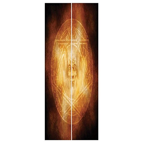 3d Door Wall Mural Wallpaper Stickers [ Horror House Decor,Demon Trap Symbol Logo Ceremony Creepy Ritual Fantasy Paranormal Design,Orange ] Mural Door Wall Stickers Wallpaper Mural DIY Home Decor by iPrint
