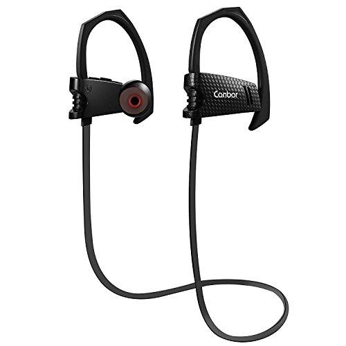 Bluetooth Kopfhörer, Canbor Bluetooth Headset mit Mikrofon Leichtgewicht Kabelloser Sport Ohrhörer Schweißabweisend für Apple iPhone, iPad, Samsung und andere Android Handys, Schwarz