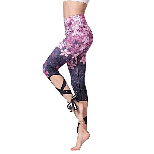 Cinghie Collant Corsa Leggings Di Pantaloni Da Fitness Jogging Compressione Donna Stampa Fiore Calzamaglia Yoga Fuweiencore Incrociate Sportivi Tessuto ZpwAxqS6