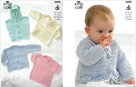 King Cole Crochet Pattern 3478 Babytoddler Crocheted Dk Cardigan