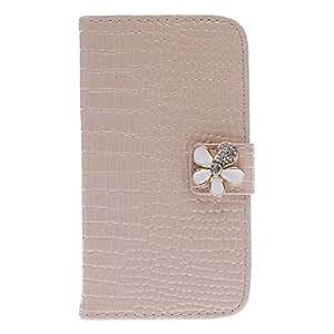 Exquisite Rhinestone Flower Design Alligator Grain Leather Case for Samsung Galaxy S3 I9300