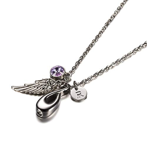 KnSam Jewelry Stainless Steel Urn Pendant Necklace with Pendant Infinity, Angel Wing, 26 Letters & 12 Birthstones Ashes Pendant Memorial Chain- June R