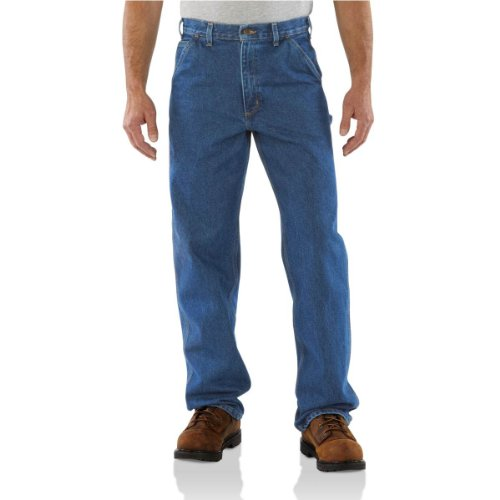 Carhartt Loose Fit Heavyweight Jeans (Carhartt Men's Loose/Original Fit Signature Denim Dungaree, Dark Stone, 42W x 32L)