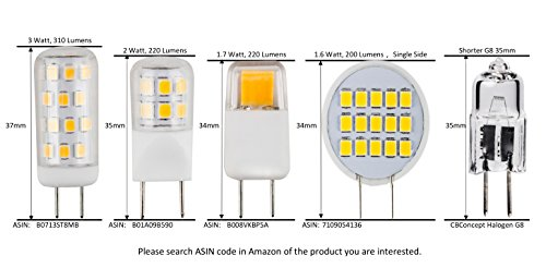 CBConcept UL-Listed Side-Pin G8 LED Light Bulb, 5-Pack, Pure White 6000K, 1.6 Watt, 200 Lumen, NOT Dimmable, 180°Beam Angle, Ceramic Sunflower, 20W Equivalent, Under Cabinet/Counter Puck Kitchen Light by CBconcept (Image #5)