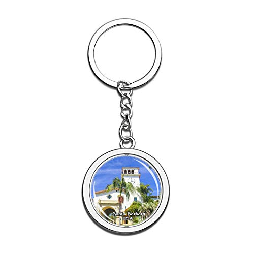 Keychain Santa Barbara County Courthouse United States USA US Keychain Crystal Spinning Round Stainless Steel Keychains Souvenir Key Chain Ring