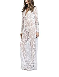 Wicky LS Maternity Photography Sexy Lace Dress See-Through Maxi Skirt for Beach