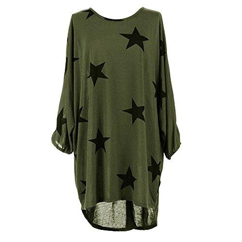 Women Blouse,Haoricu 2017 Women Plus Size Batwing Sleeve Stars Print Loose Long Tops (Asian Size:XL, Green)