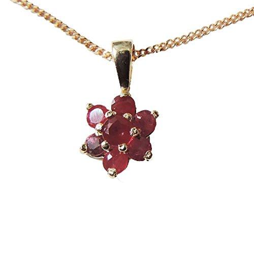 Austral Jewellery Ltd - 9Ct Or Jaune Réel Rubis Pendentif Étoile Grappe Et Une Chaîne De 9Ct - Parfait 40E Mariage Cadeau D'Anniversaire
