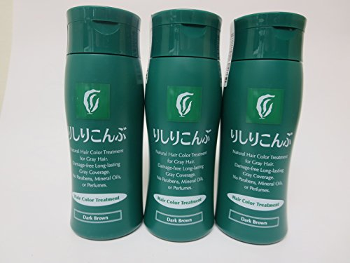 Rishiri Natural Kombu Hair Color Treatment 200g Dark Brown (3 Bottles) by Rishiri