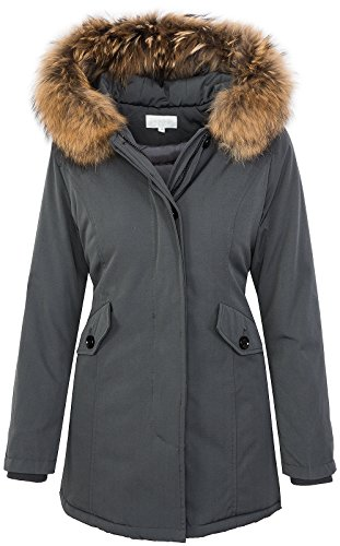 Giacca da donna con vera pelliccia, invernale, con cappuccio D-204 Grau
