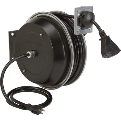 Strongway Retractable Cord Reel - 50-Ft., 12/3, Triple Tap by Strongway (Image #2)