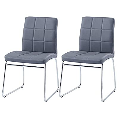 Modern Dining Chairs Set of 2,Dining Room Chairs with Faux Leather Padded Seat Back in Checkered Pattern and Sled Chrome Legs, Kitchen Side Chairs for Dining Room,Kitchen, Living Room,Gray - Beautiful set of modern and stylish dining chairs, suitable for any home, dining and kitchen space. Easy to Clean and made from high quality premium PU leather guarantees durability and water resistance. Simple smart design, good workmanship, Two Step Easy assembly required. - kitchen-dining-room-furniture, kitchen-dining-room, kitchen-dining-room-chairs - 41CE lXfbzL. SS400  -