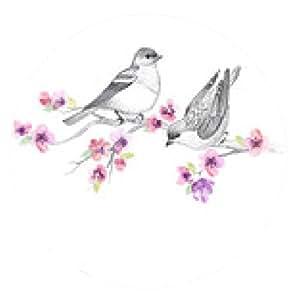 alfombrilla de ratón Fondo gráfico con los pájaros lindos y flores - ronda - 20cm