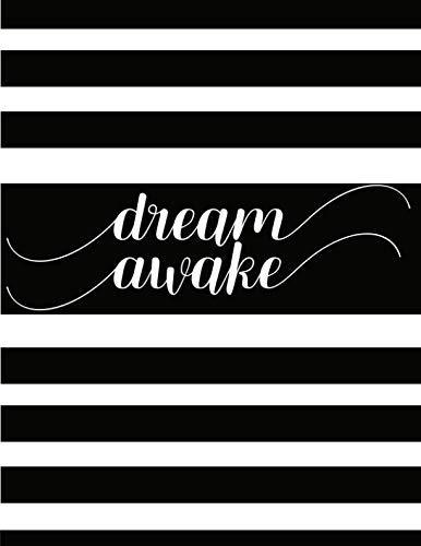 dream awake Journal Notebook Tablet: Black and White Color Stripes 8.5 x 11