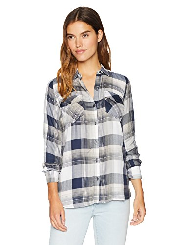 Jessica Simpson Women's Petunia Collared Long Sleeve Button up Shirt, Misty Rose/Judy Plaid, Medium