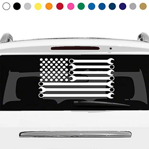 MANY SIZES and COLORS Wrench American Flag Mechanic Repair Body Shop Rear Window Sticker Decal Car Truck Suv Laptop v1
