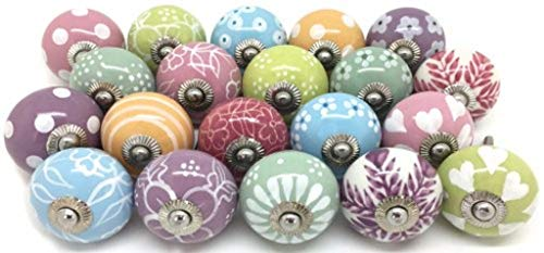 - Zahra Premium Quality Assorted Ceramic Knobs- Multi Color Mix Designed Ceramic Cupboard Cabinet Door Knobs Drawer Pulls & Chrome Hardware (20, Pastel)