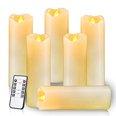 Homemory Flameless LED Pillar Candles, Ivory, Battery Powered Faux Candles