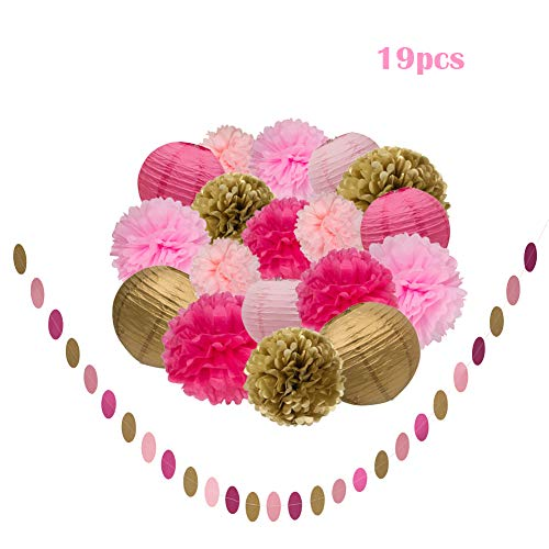 Pink Gold and Rose Party Decorations, 19Pcs Tissue Paper Flower Pom Poms Lanterns Polka Dot Triangle Garland Banner for Bridal Shower, Baby Shower,Wedding, First Birthday Girl, Girls Birthday Party ,Princess Ballerina Theme,Bachelorette Party Decorations