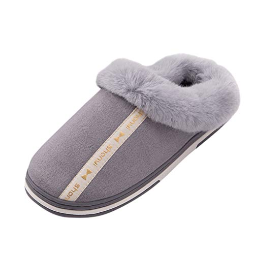 Eimvano Couple Comfort Micro Suede Memory Foam Slippers Non Skid House Shoes w/Faux Fur Collar (Pony Ladies W Footwear)