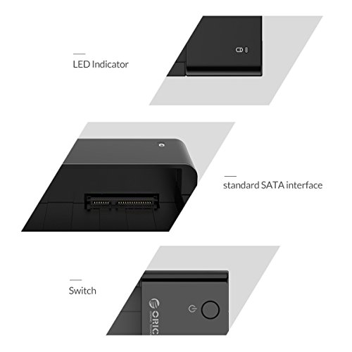 ORICO Tool-Free USB 3.0 & eSATA to 2.5'' & 3.5'' SATA External Hard Disk Drive Lay-Flat Docking Station HDD SSD Enclosure [Support 8TB]- Black by ORICO (Image #5)