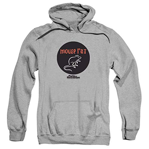 Parks & Rec Mouse Rat Pawnee Band Pull-Over Hoodie Sweatshirt & Stickers (Small) Athletic Heather