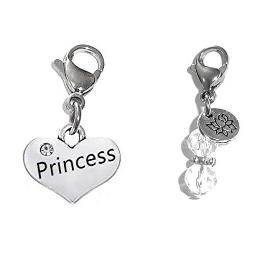 (Hidden Hollow Beads Clip On Charm, Bag, Purse, Handbag, Message, Keychain, Zipper Pull, Bracelets, Necklaces, Jewelry (Princess))
