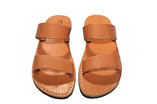 Caramel Bio Unisex Leather Sandals / Genuine Handmade Leather Holy Land Biblical Jesus Sandals (EURO  45)