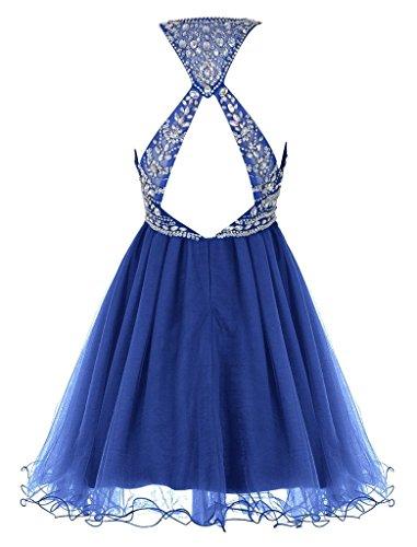 ausschnitt Braut A Steine La Cocktailkleider Partykleider Mini Kurz Royal Chiffon Promkleider mia linie Blau U 5wHvxCqWIx