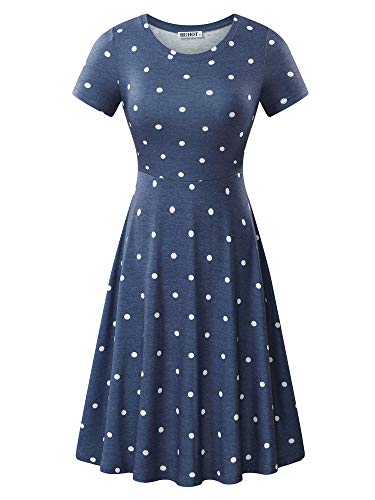 HUHOT Women Short Sleeve Round Neck Junior Navy Polka Dot Casual Midi Dress (X-Large, Flower-19)