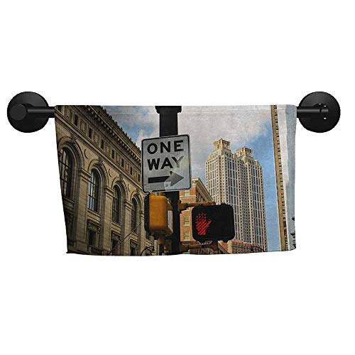 alisoso City,Towels One Way Sign in Front of Atlanta Skyline Downtown Apartments Urban View Bath Towels for Kids W 28