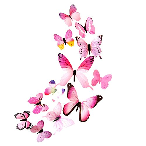 12PCS 3D Colorful Butterfly Wall Stickers DIY Art Decor Crafts for Bed Bathroom (Pink)