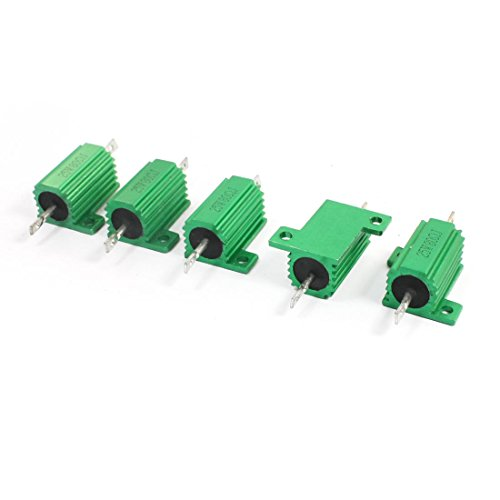 5pcs Green 80 Ohm 25W Axle Lead Aluminum Wire Wound Power Resistor