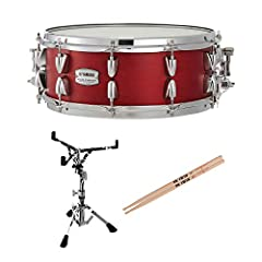 """This Bundle Includes: (1) Yamaha TMS-1455 14"""" x 5.5"""" Candy Apple Satin Tour Custom Maple (1)Yamaha SS-740A Snare Stand - Medium Weight, Single-Braced (2)Vic Firth 5A American Classic Hickory Drumsticks The Yamaha Tour Custom Maple promises p..."""