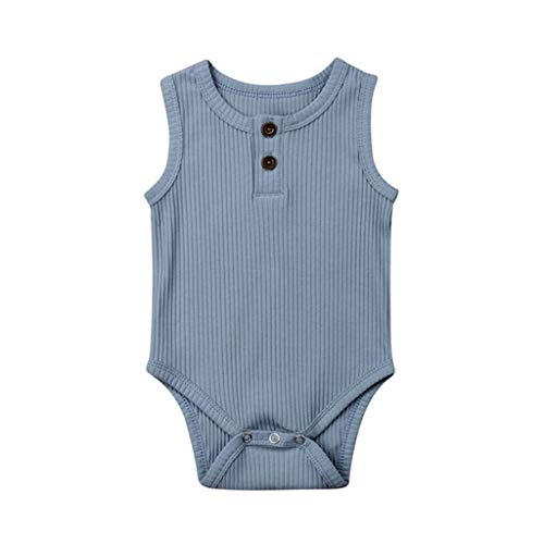 RUIVE Toddler One Piece Jumpsuit Sleeveless Summer Baby Kids Girls Boys Button Solid Romper Infant Bodysuit Clothes Outfits ()