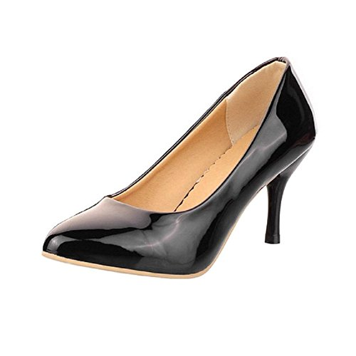 VogueZone009 Womens Closed Round Toe Kitten Heel Patent Leather PU Solid Pumps Black HElRV2A